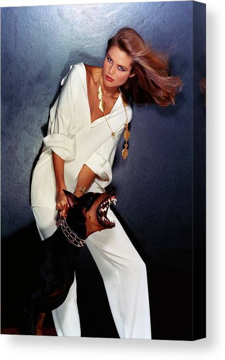 Accessories Canvas Print featuring the photograph Christie Brinkley Wearing Geoffrey Beene Pajamas by Chris Von Wangenheim