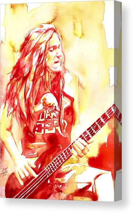 Cliff Canvas Print featuring the painting Cliff Burton Playing Bass Guitar Portrait.1 by Fabrizio Cassetta