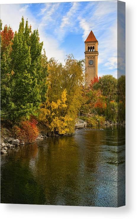 Clock Tower Canvas Print featuring the photograph Clocktower In Fall by Paul DeRocker