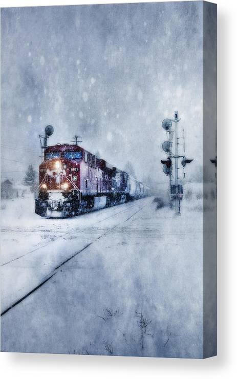 Cold Nights On The Midnight Train Color Canvas Print