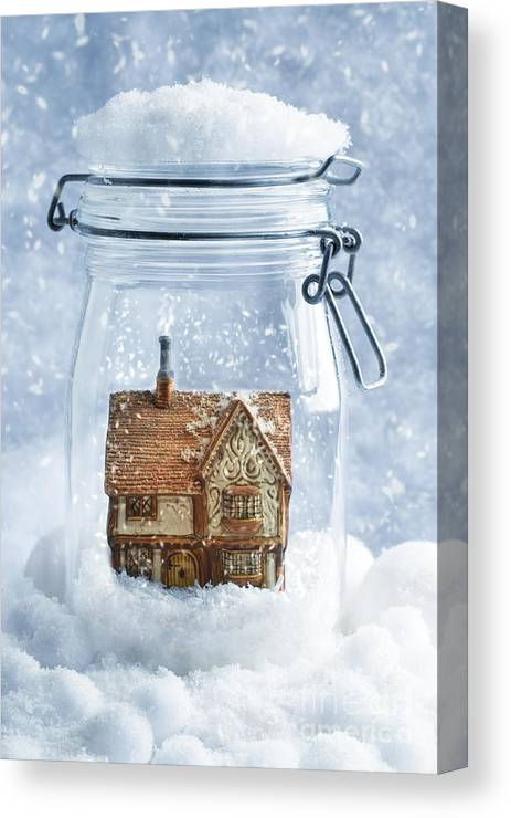 Country Canvas Print featuring the photograph Cottage Snowglobe by Amanda Elwell