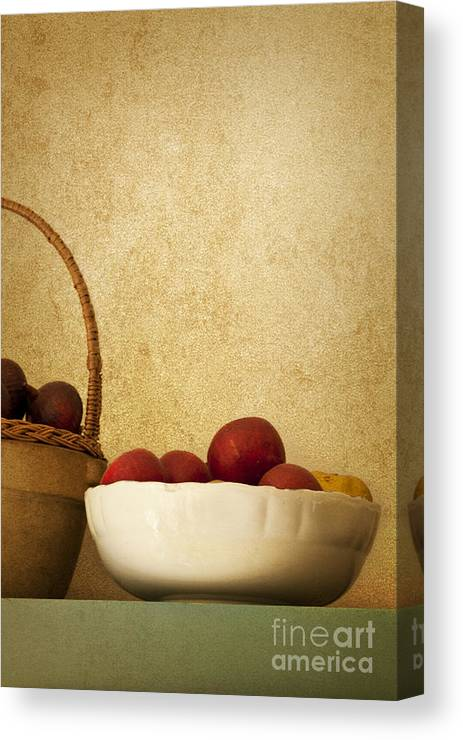 Apples; Bowl; Shelf; Antique; Fruit; Basket; Wall; Kitchen; Still Life; Ceramic; Plums; Old Fashioned; Red; Healthy; Fresh Canvas Print featuring the photograph Country Apples by Margie Hurwich