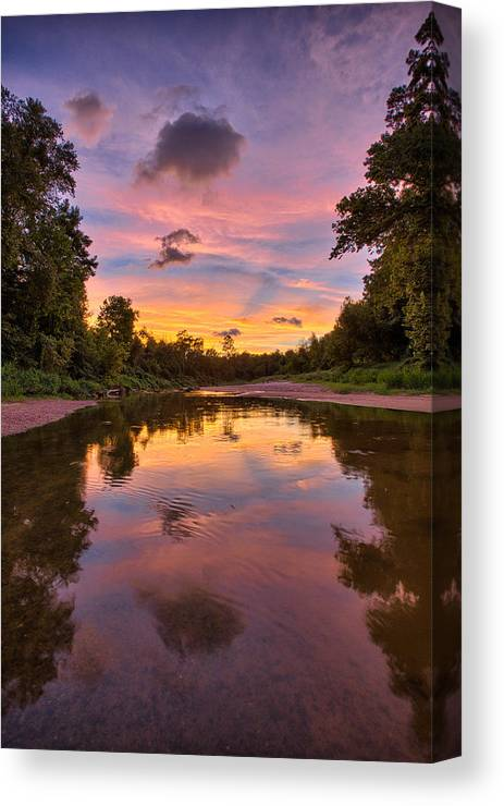 Sunset Canvas Print featuring the photograph Creek Glow by Chris Multop