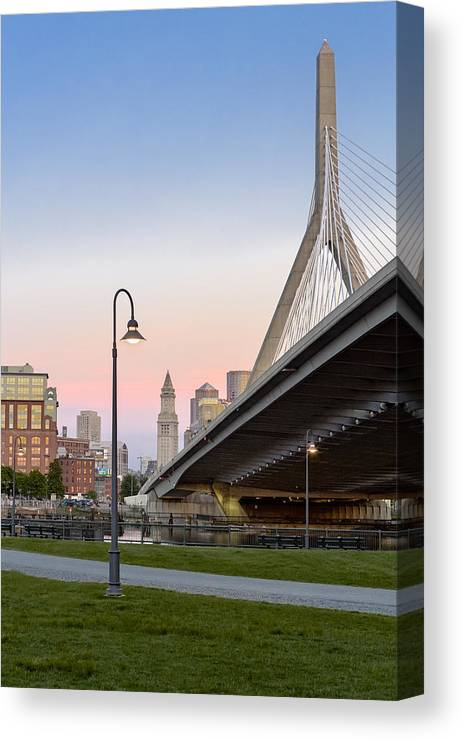Boston Canvas Print featuring the photograph Custom House And Zakim Bridge by Susan Candelario