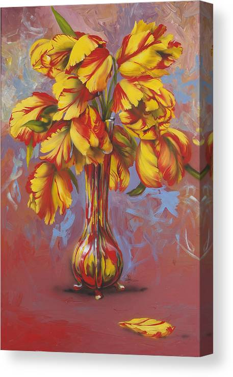 Tulips Canvas Print featuring the painting Czech Tulips by Lynette Yencho