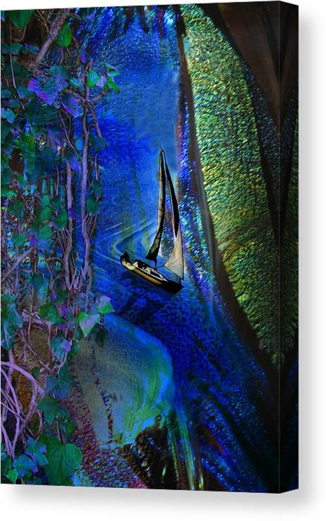 Dark River Canvas Print featuring the digital art Dark River by Lisa Yount
