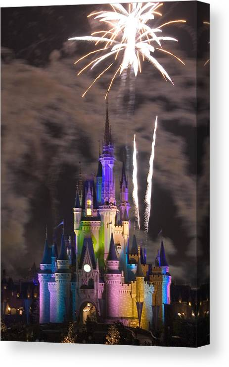 Fireworks Canvas Print featuring the photograph Disney Castle by Carl Purcell
