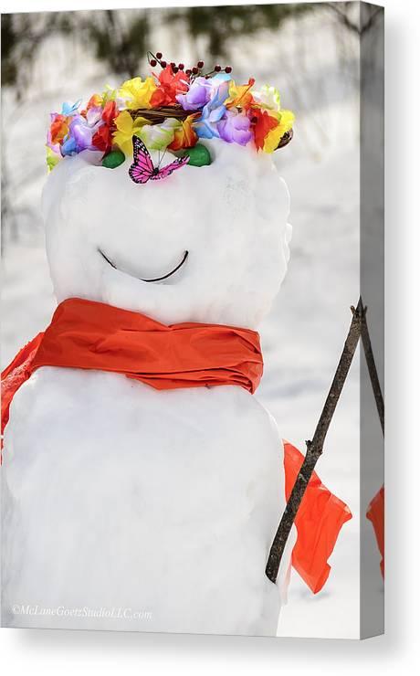 Snowman Canvas Print featuring the photograph Easter Snowman by LeeAnn McLaneGoetz McLaneGoetzStudioLLCcom