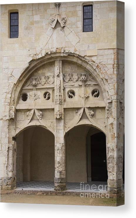 Cloister Canvas Print featuring the photograph Entrance Fontevraud Abbey- France by Christiane Schulze Art And Photography