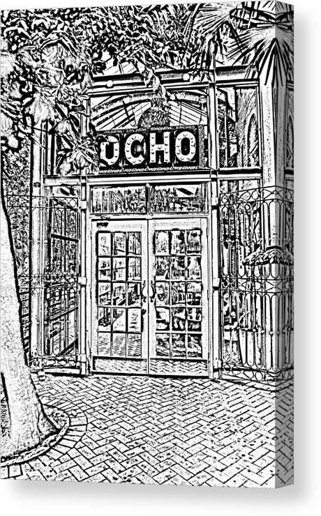 Travelpixpro San Antonio Canvas Print featuring the digital art Entrance To Trendy Ocho Restaurant In San Antonio Texas Black And White Digital Art by Shawn O'Brien