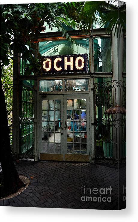 Travelpixpro San Antonio Canvas Print featuring the digital art Entrance To Trendy Ocho Restaurant In San Antonio Texas Watercolor Digital Art by Shawn O'Brien
