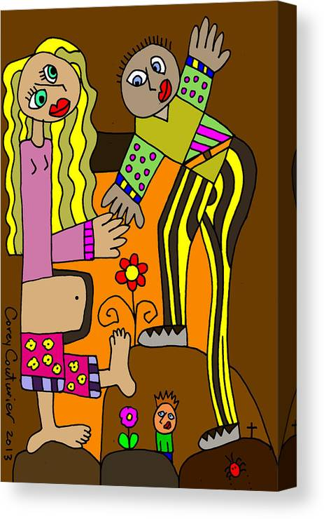 Doodle Art Canvas Print featuring the digital art Expecting by Corey Couturier