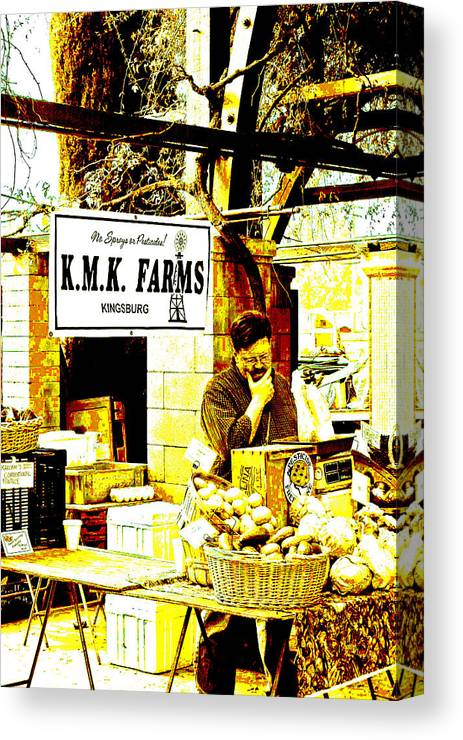 Farmers Market Canvas Print featuring the digital art Farmers Market Vendor by Joseph Coulombe