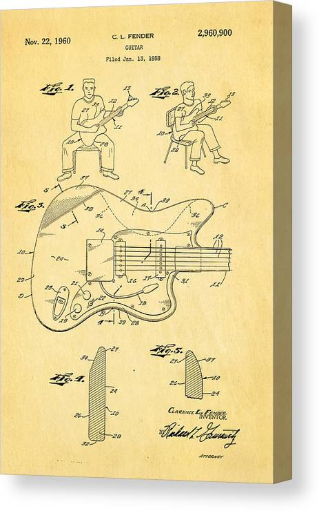 Famous Canvas Print featuring the photograph Fender Jazzmaster Guitar Patent Art 1960 by Ian Monk