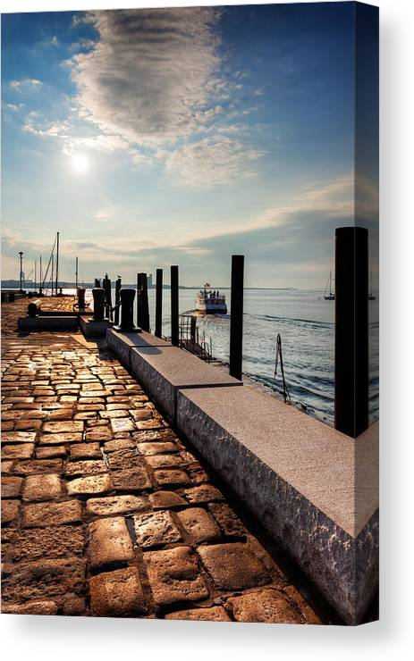 Boston Harbor Canvas Print featuring the photograph Ferry Leaves Long Wharf by Jo Ann Snover
