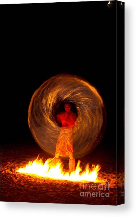 Fire Dance Canvas Print featuring the photograph Fire Dance by Laarni Montano