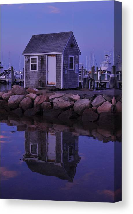 Landscape Canvas Print featuring the photograph Fisherman's Shack Evening by Phyllis Tarlow