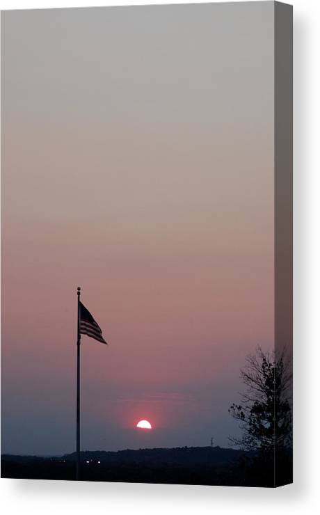 American Flag Canvas Print featuring the photograph Freedom Sunset by Chris Mcmannes