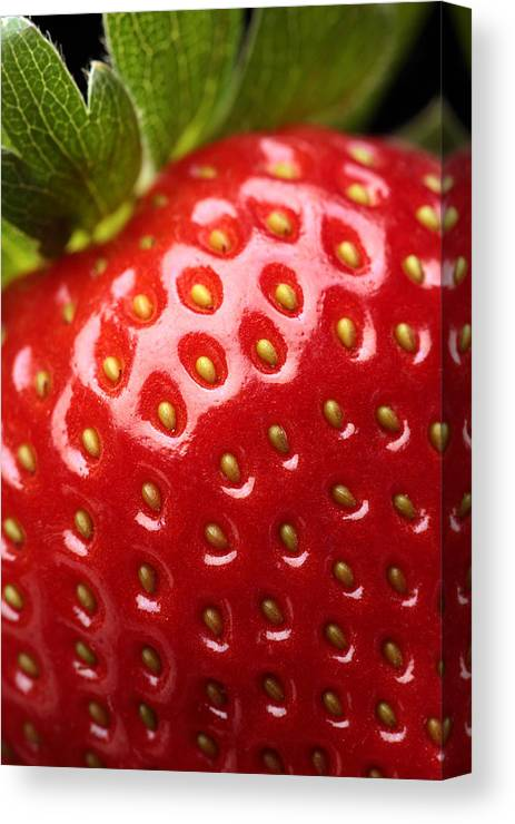 Strawberry Canvas Print featuring the photograph Fresh Strawberry Close-up by Johan Swanepoel