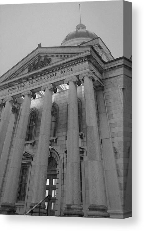 Photograph Print Canvas Acrylic Metal Architecture Courthouse Kingston Ontario Historic Statue Canvas Print featuring the photograph Frontenac County Courthouse 3 by Jim Vance
