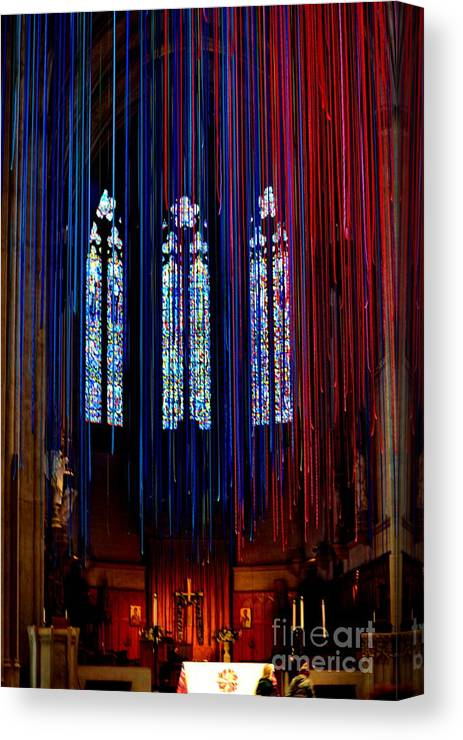 Grace Cathedral Canvas Print featuring the photograph Grace Cathedral With Ribbons by Dean Ferreira