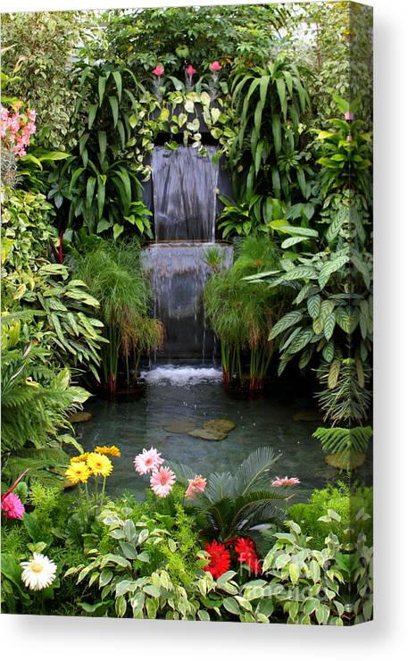 Waterfall Canvas Print featuring the photograph Greenhouse Garden Waterfall by Carol Groenen