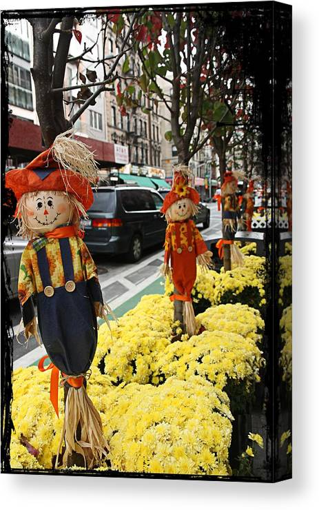 Halloween Canvas Print featuring the photograph Halloween In N Y C Streets by Nick Difi