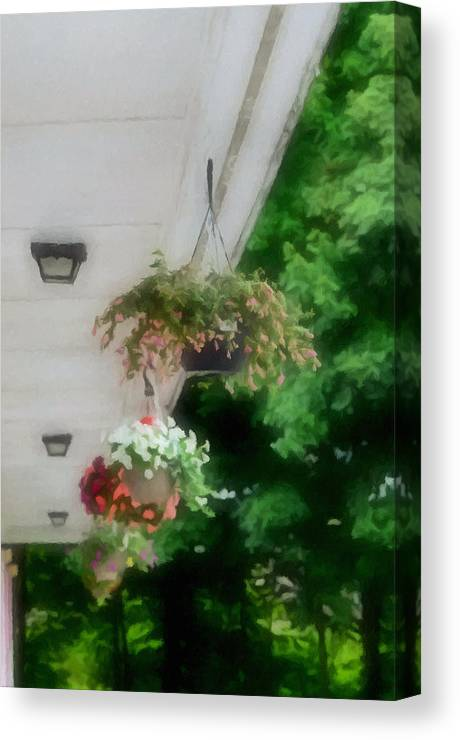 Agricultural Canvas Print featuring the painting Hanging Flower Baskets On A Porch by Jeelan Clark