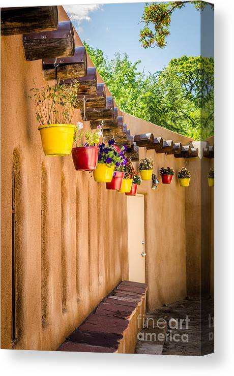 Bob And Nancy Kendrick Canvas Print featuring the photograph Hanging Pots by Bob and Nancy Kendrick