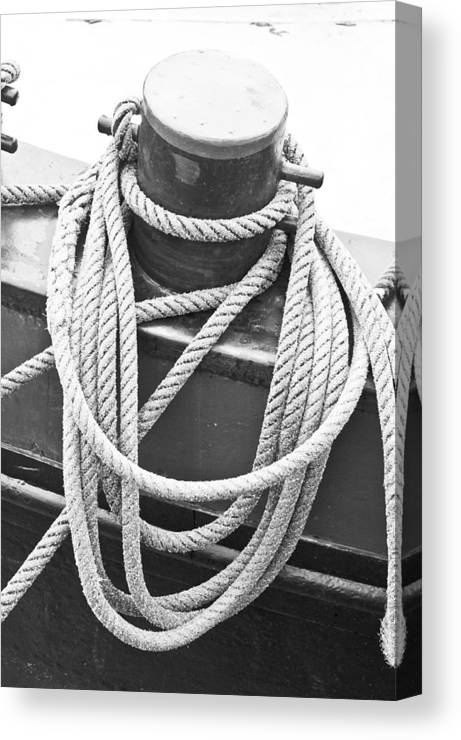 Anchor Canvas Print featuring the photograph Harbour Rope by Tom Gowanlock