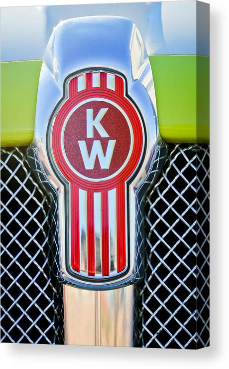 Kenworth Truck Emblem Canvas Print featuring the photograph Kenworth Truck Emblem -1196c by Jill Reger