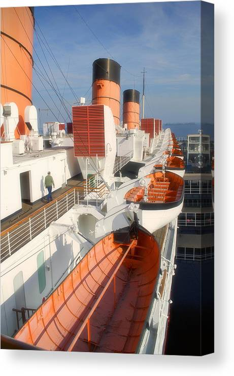 Queen Mary Canvas Print featuring the photograph Life Boats 01 Queen Mary Ocean Liner Port Long Beach Ca by Thomas Woolworth