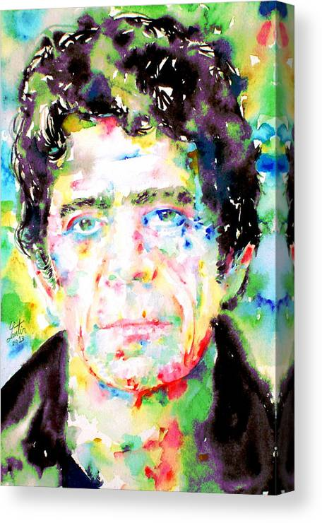 Lou Reed Canvas Print featuring the painting Lou Reed Watercolor Portrait.1 by Fabrizio Cassetta
