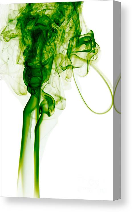 Abstract Canvas Print featuring the mixed media Abstract Vertical Toxic Green Mood Colored Smoke Wall Art 03 by A K Art