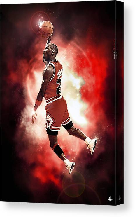 Mr. Michael Jeffrey Jordan Canvas Print featuring the photograph Mr. Michael Jeffrey Jordan Aka Air Jordan Mj by Nicholas Grunas