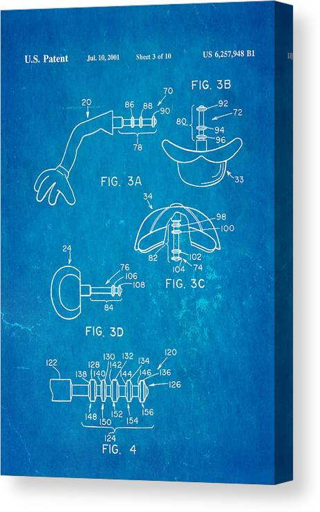 Famous Canvas Print featuring the photograph Mr Potato Head 2 Patent Art 2001 Blueprint by Ian Monk