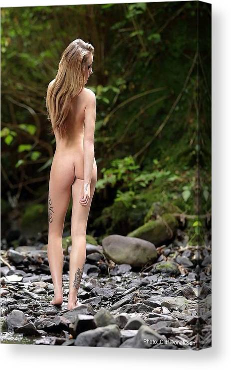 Naked Canvas Print featuring the photograph Naked Girl In The River by Cliff