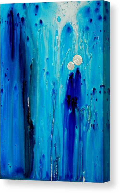 Blue Canvas Print featuring the painting Never Alone By Sharon Cummings by Sharon Cummings