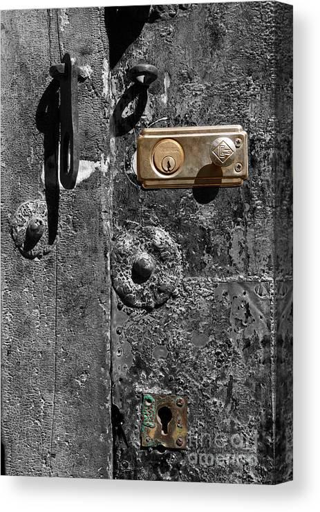 Door Canvas Print featuring the photograph New Lock On Old Door 1 by James Brunker