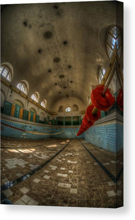 Abandoned Canvas Print featuring the digital art No Swimming by Nathan Wright