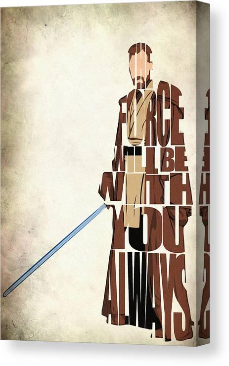 Obi-wan Kenobi Canvas Print featuring the digital art Obi-wan Kenobi - Ewan Mcgregor by Inspirowl Design