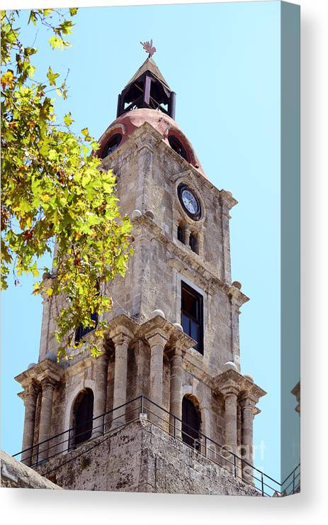 Tower Canvas Print featuring the photograph Old Clock Tower In Rhodes City Greece by Aleksandar Mijatovic