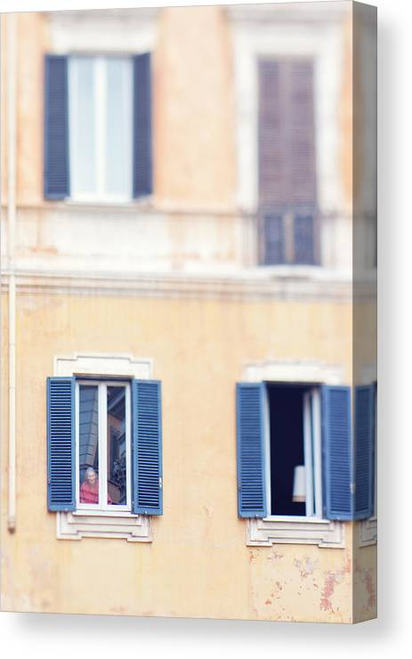 Italy Canvas Print featuring the photograph Old Lady In Window by Kim Fearheiley
