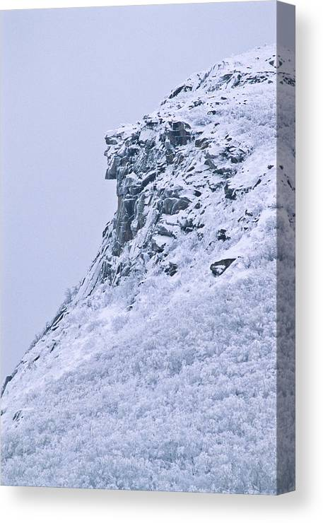 Old Man Of The Mountain Canvas Print featuring the photograph Old Man In Winter by Michael Hubley