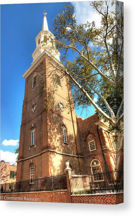 Philadelphia Canvas Print featuring the photograph Philadelphia Christ Church Tower 1 by Constantin Raducan