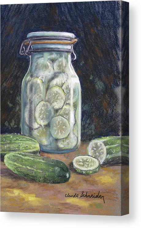 Pickle Canvas Print featuring the painting Pickled Cucumbers by Claude Schneider