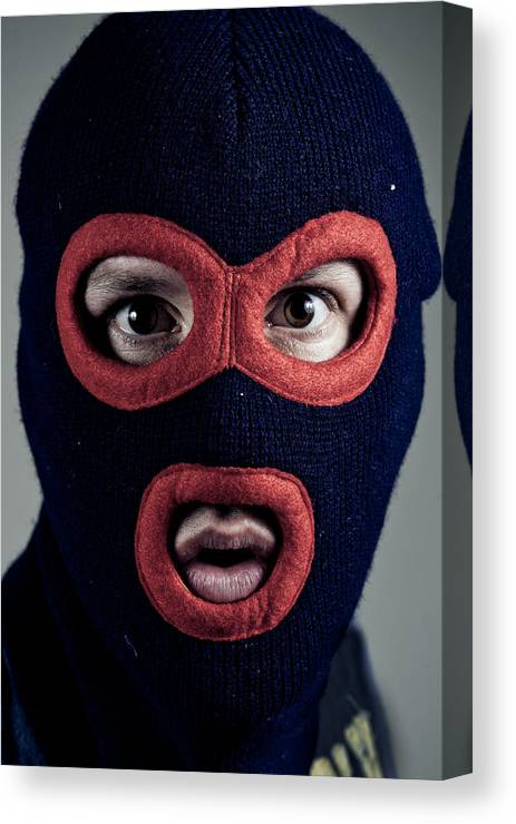 Balaclava Canvas Print featuring the photograph Portrait Of Man Wearing  Balaclava by Tdubphoto c2693ddb3235