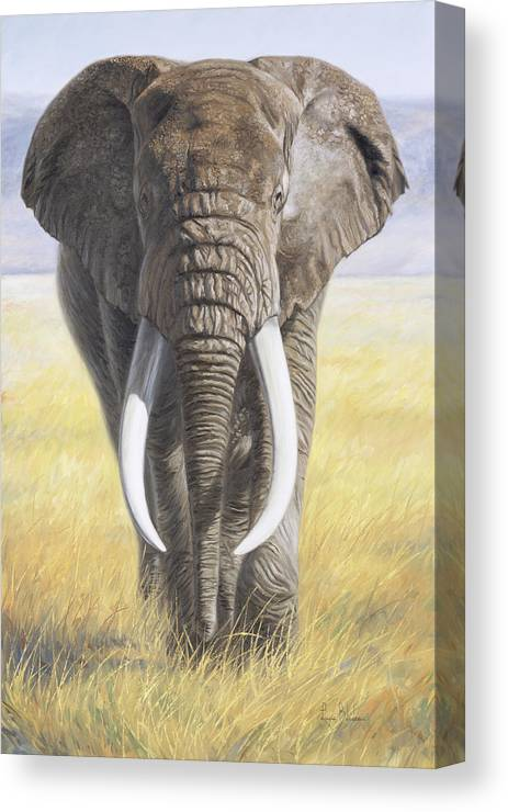 Elephant Canvas Print featuring the painting Power Of Nature by Lucie Bilodeau