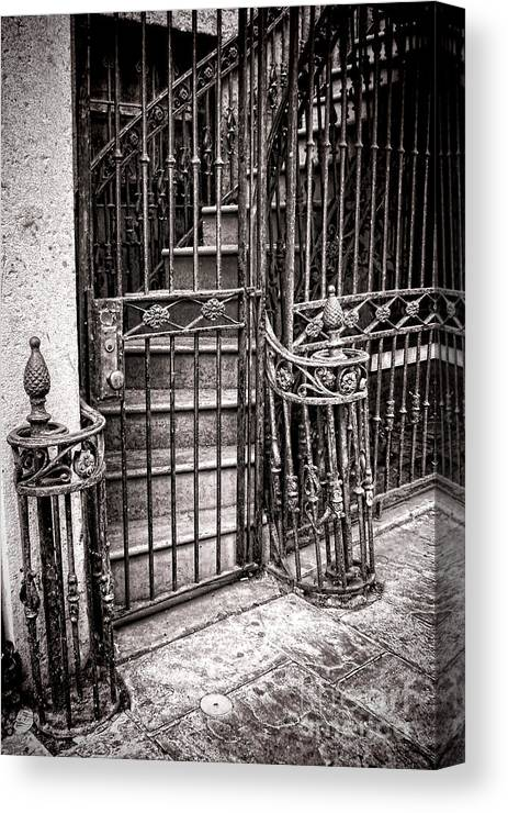 Gated Canvas Print featuring the photograph Private Stairway by Olivier Le Queinec