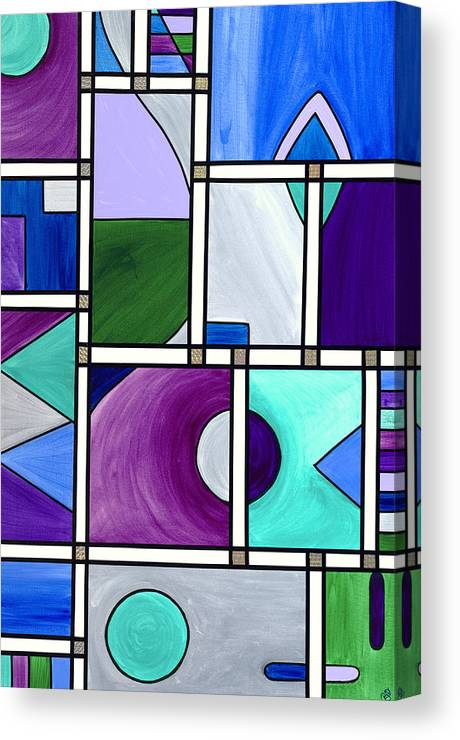 Abstract Canvas Prints Canvas Print featuring the painting Purple -blue -green Abstract 2 by Patty Vicknair